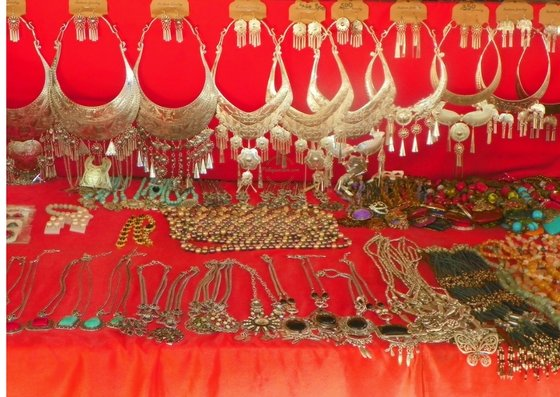 Jewellery for sale in the markets of Laos