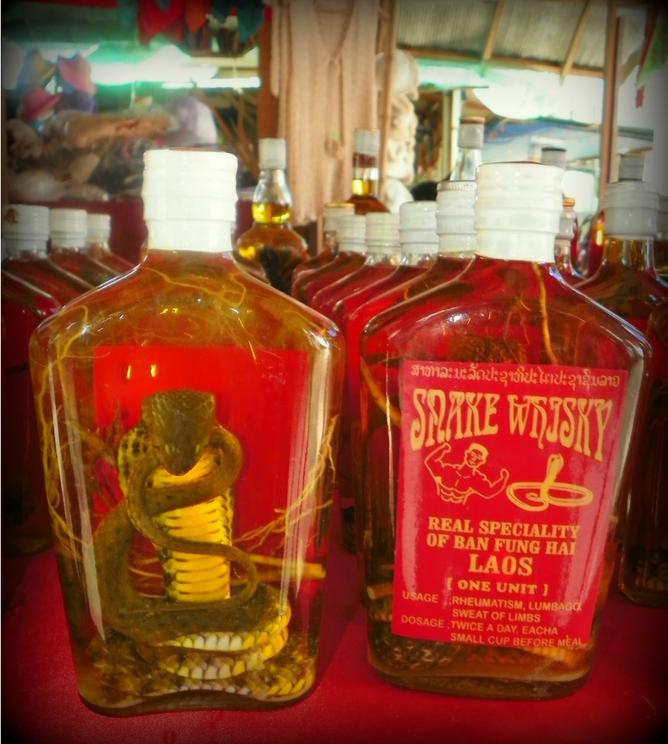 Snake wine bottles of Laos
